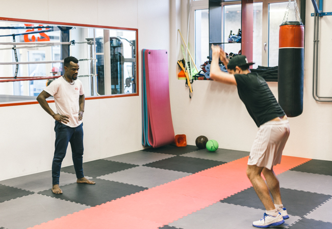 5 Stars on Facebook Boxing, MMA, Cross Boxing, Thai Boxing, Fitness & More at Jamaa Sport: by Swiss Boxing Champ Cedric Kassongo   Choose 10 day-passes (incl access to all classes + facilities each day) or 3 personal training sessions 35+ classes / week to choose from   Photo