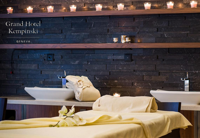 Recommended by 94% of BuyClubbersValmont Spa at Grand Hotel KempinskiUltimate pampering at one of Geneva's best luxury spas. Choose Massage (relaxing or Ayurvedic), Facial, or Duo-massage. All options incl 2h access to all Spa facilities. Valid Mon-Fri
