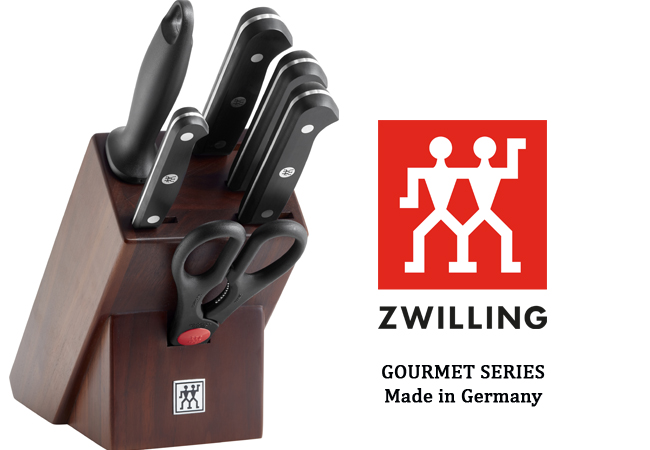 ZWILLING® 7-Piece Gourmet-Series Knife Block (Made in Germany)  Not all knives are created equal! Get all the knives you'll ever need, stylishly stored in an all-natural wooden block & designed to last a lifetime  Photo