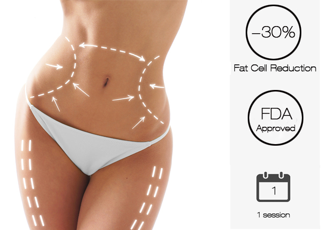 """Freeze Away 30% of Fat Cells in 30 Min, FDA Approved CoolSculpting® Cryolipolysis Procedure to Freeze Away Fat Cells at Aesthetics: Among Geneva's Leading ClinicsRevolutionary non-invasive procedure called """"effective in eliminating fat"""" by the Mayo Clinic and """"near lipo results"""" by Vogue  Photo"""