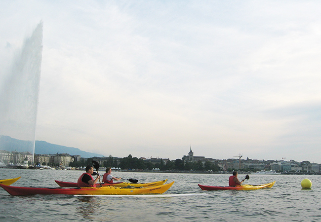 Valid All Summer 2-Hours Guided Kayak Tour on Lake Geneva with Rafting-Loisirs. Tours Happen Mon-Sat All July & August, 18h-20h  Departure/ arrival at Vengeron (Chambésy), all equipment included  Photo