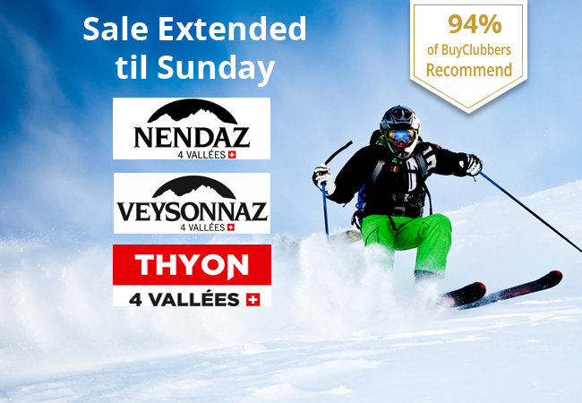 """94% of BuyClubbers Recommend Daily Ski Pass to Les 4 Vallees """"Printse"""" Sector incl:   Nendaz Veysonnaz Thyon   Valid 7/7 all season  Photo"""