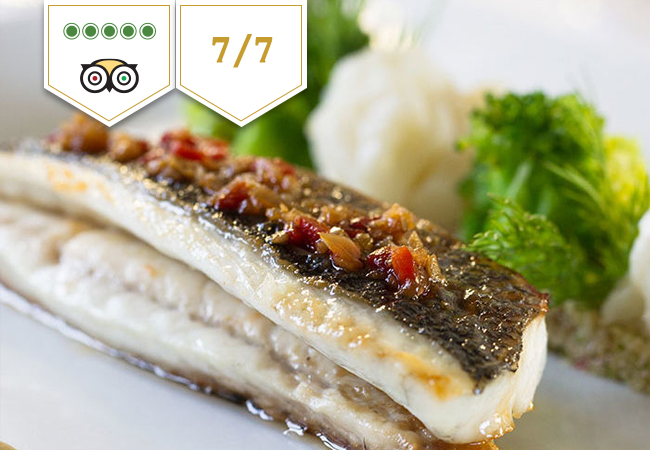 5 Stars on Tripadvisor Healthy Lunch 7/7 at Café Lauren @ La Réserve Genève: CHF 100 Credit  La Reserve's 7/7 healthy-dining concept - by chef Nathalie Nguyen Thi - focuses on delicious fish & veggie dishes with gluten-free & lactose-free options, and with no fats except olive oil  Photo