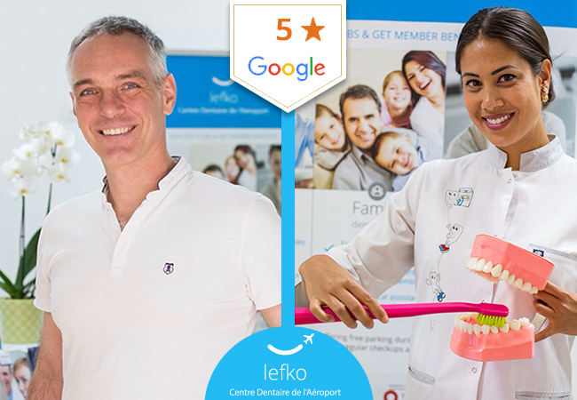 5 Stars on Google  Dental Cleaning at Lefko Dental Clinic (near the Airport) with option for dentist check-up  Lefko is rated a perfect 5-stars on Google and on Facebook, and is open 6 days a week  Photo