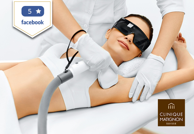5 Stars on Facebook  [Nyon & Lausanne] Laser Hair Removal at Clinique Matignon in Nyon, Lausanne, Vevey & More Locations   Pay CHF 299 for CHF 600 Credit Pay CHF 589 for CHF 1200 Credit Pay CHF 1099 for CHF 2400 Credit   Photo
