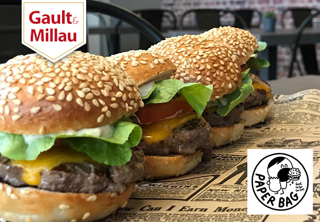 """""""Cool burgers & cool place!"""" - Gault&Millau Homemade Burgers at Paper Bag (near Cornavin) for Eat-In & Take-Away. 1 Voucher = CHF 45 Credit on Food & Drinks  Great burgers made with premium Swiss beef, celebrated by the local press  Photo"""
