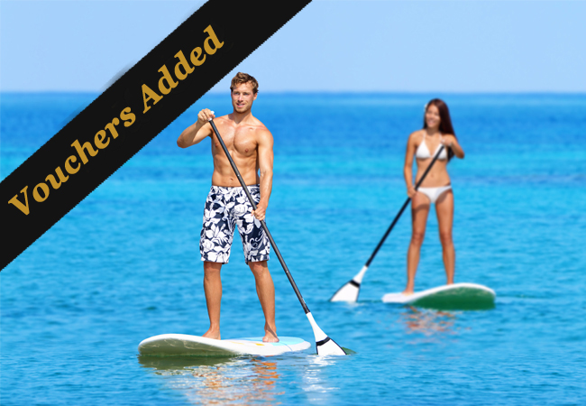 """More Vouchers Added  Stand Up Paddling (""""SUP"""") or Wakeboarding at Twin's Club Versoix: Rated 4.9 Stars on Google   SUP rental 4 x 1h: 80 CHF 49 Wakeboard class 80 CHF 39   Photo"""
