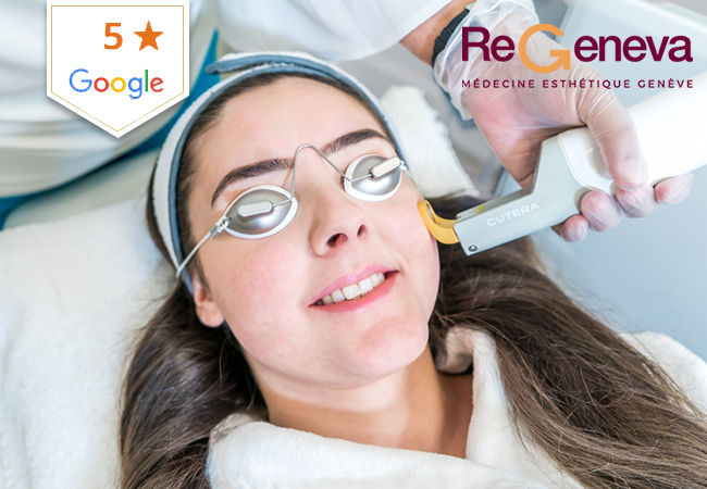 """""""Like a real-life Instagram filter for your skin"""" - VOGUE  1 or 3 Laser-Genesis Facials at ReGeneva (near Airport): Rated 5 Stars on GooglePainless laser facial with some of the best scientific & media reviews we've seen. Stimulates the body's natural collagen production to help reduce wrinkles & more  Photo"""