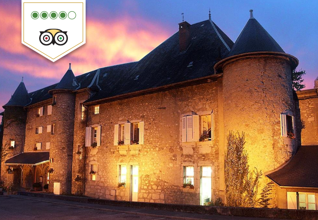4 Stars on Tripadvisor Fairytale Castle Escape in French Savoie at Château des Comtes de Challes (1h10 from Geneva, 1h50 from Lausanne)  Charming 15th-century castle in a beautiful surroundings, pool & gourmet dining. Valid 7/7 til December 2021 (excluding Saturday nights from Jul til mid-Oct)  Photo