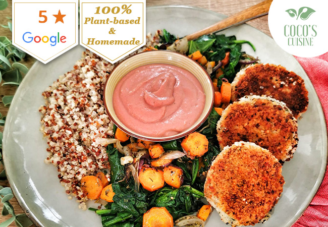 5 Stars on Google Vegetarian & Organic Meals by Coco's Cuisine for Delivery or Take-away. 1 Voucher = Full Meal for 2 People, Once Per Week for 2 Consecutive Weeks Chef Coralie - aka Coco - prepares everything from scratch using local ingredients  Photo
