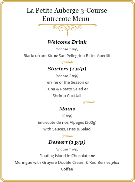Entrecote menu for 2 people at la petite auberge 4 stars todays offer 3 course entrecote menu for 2 people stopboris Image collections